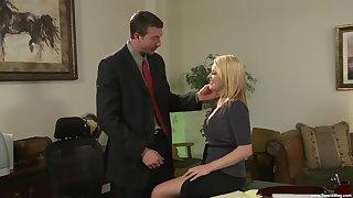 Cute secretary Codi Carmichael enjoys sex with her boss in the office