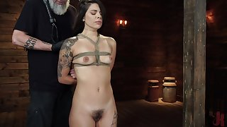 Tied Gina Valentina gets her pussy pleased in the stranger's basement