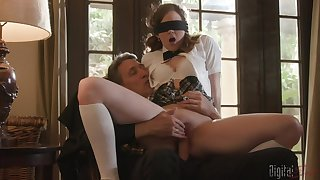 Blindfolded teen Devon Green did not expect a giant dick