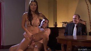 Horny gentleman bangs an superannuated man's sexy Asian wife Beti Hana