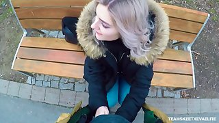 Worthless Russian teen Eva Elfie gives a blowjob in public for money