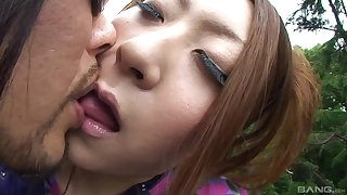 Open-air blowjob by beloved Japanese wed for a lucky stranger
