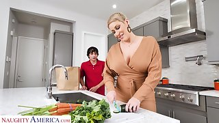 Hot mature mammy Ryan Keely bangs nerd 19 yo stepson in eradicate affect kitchen