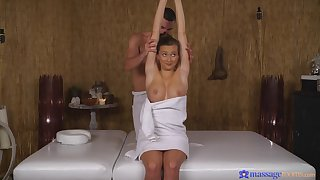 Slim tot with nice tits, hot massage with porn combined