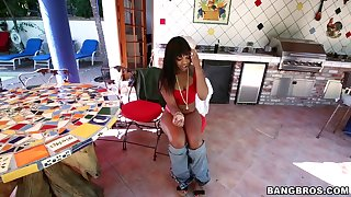 Large ass ebony Nikki Ford spreads her legs for a large black dick