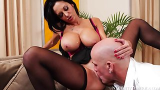 Cougar Ava Addams fucking take the sofa yon her outie pussy