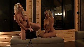 StrapOn Lesbian nearly big boobs fucks her comme �a blue GF